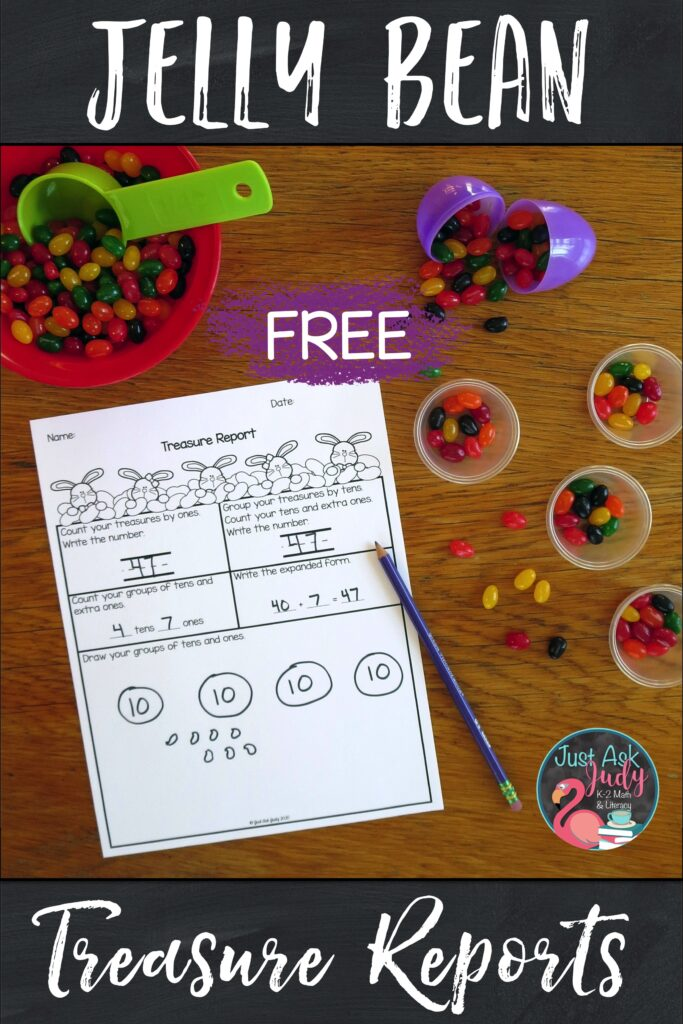 Check out this engaging hands-on jelly bean math activity for first and second-graders which helps develop an understanding of two-digit numerals, tens and ones.