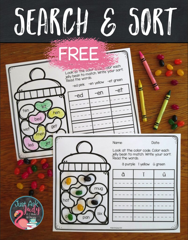 Use this sweet activity to search for and sort words with short vowel patterns in kindergarten and first grade.