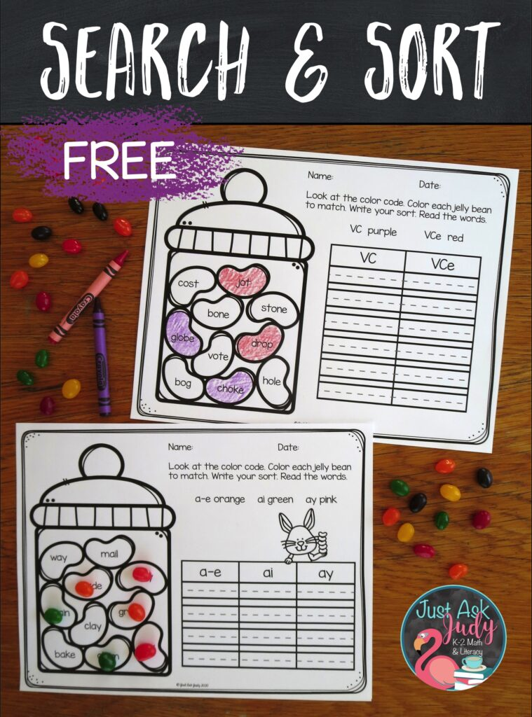 Let your first and second graders search for and sort words with long vowel patterns using this appealing resource