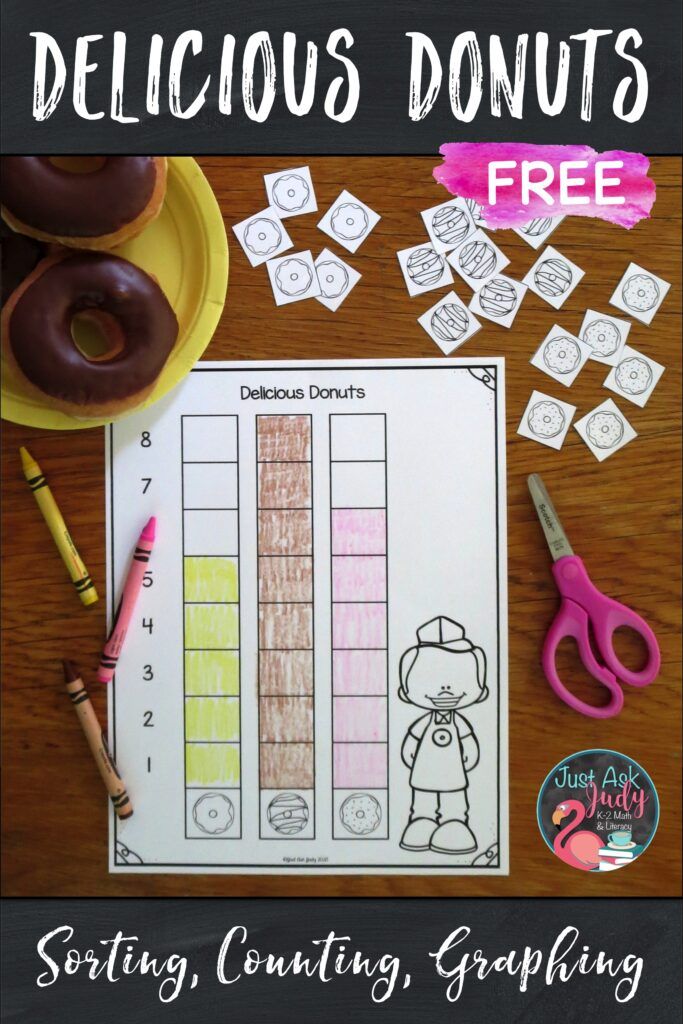 Check out this free activity for sorting, counting, and graphing donuts. Use it to help celebrate National Doughnut Day with your preschoolers, kindergarteners, first graders, or early second graders.