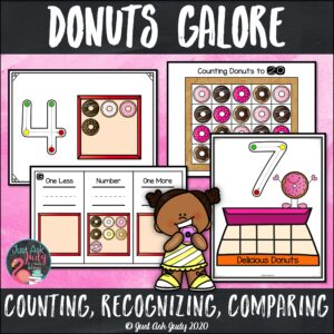Click to see this set of donut themed math activities, deliciously perfect for preschool and kindergarten. Focus on numeral formation, numeral recognition 0-10, cardinality, counting (to 10, 20, 30, or 40), comparing quantities, and determining one less and one more than a given quantity or number.