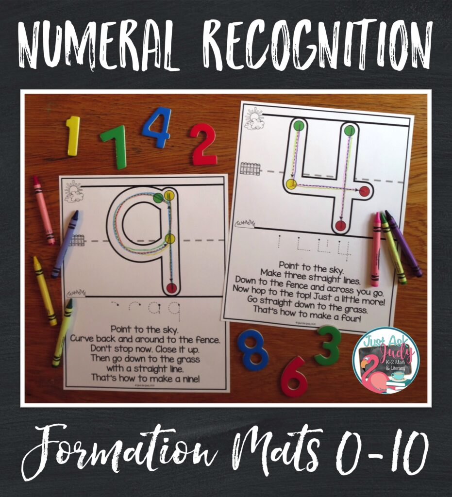 Try these easy to prepare full-page mats with your preschoolers or kindergarteners. Each mat has a single numeral (0-10) with supports to help guide correct formation.