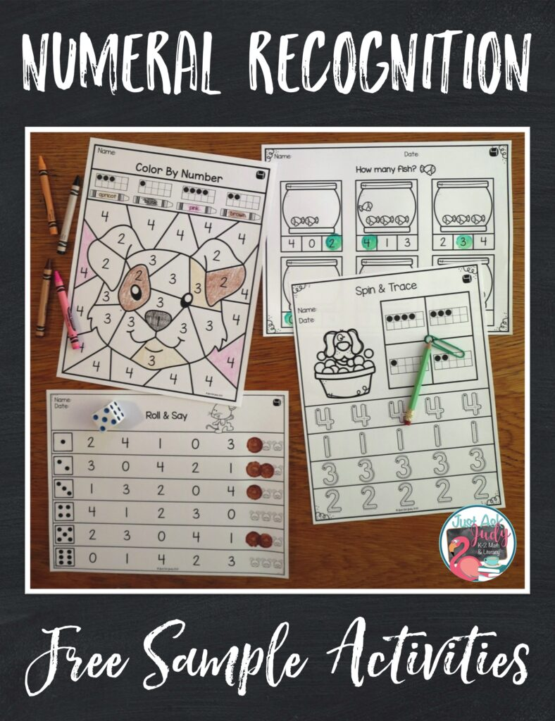 Download a free sample of pet themed math activities to help you teach numeral recognition 0-4 to preschoolers and kindergarteners.