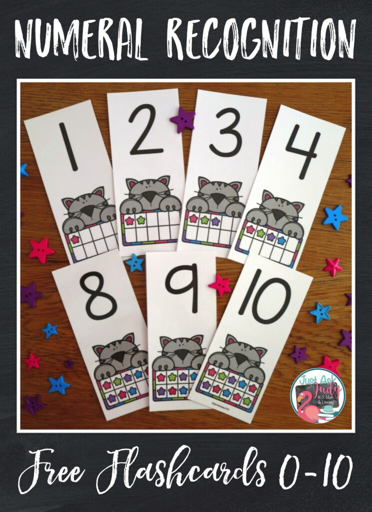 Click to download these free self-checking numeral recognition flashcards 0-10. They're purrfect for preschoolers or kindergarteners.