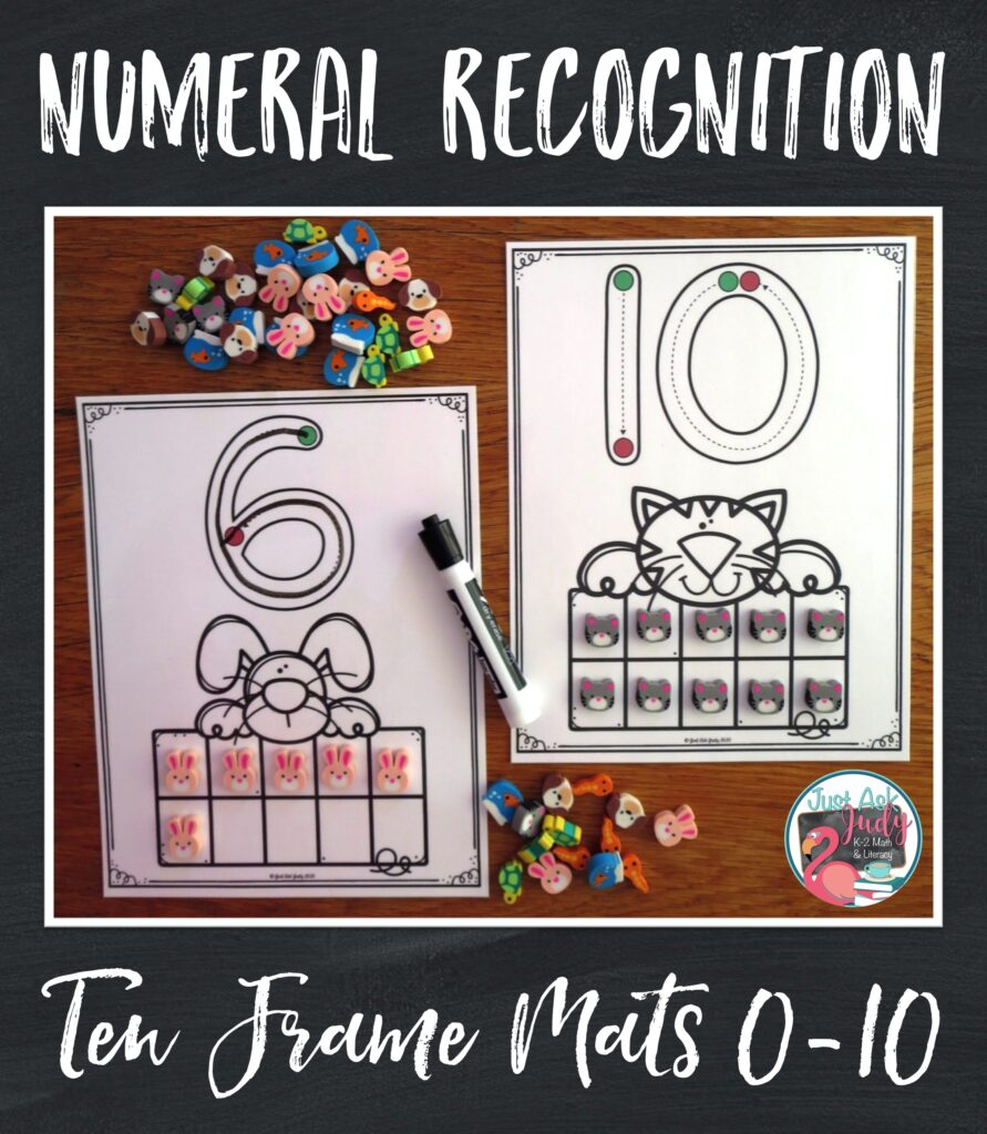 Help your preschoolers and kindergarteners develop skills in numeral recognition, numeral formation, counting quantities, and cardinality with these easy to prepare full-page pet themed ten-frame number mats (0-10).