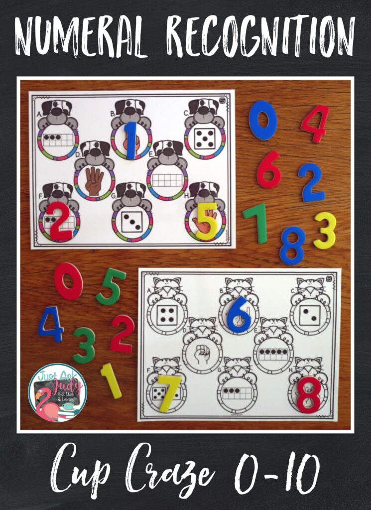 Your preschool and kindergarten students will love this pet themed number sense matching activity! There are full-page size mats (2-10) with the numbers 0-10 represented with fingers, dice, and ten frames. Add numbered cups or simply numbers for hands-on math fun.