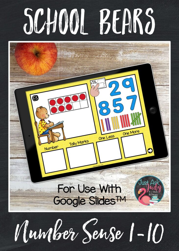 Try this school bear themed number sense resource for Google SlidesTM . This drag and drop digital number activity provides perfect practice for your preschoolers and kindergarteners.