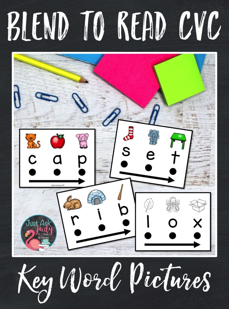 Check out this set of 180 word cards designed to support beginning or struggling students as they learn to decode CVC words in kindergarten and 1st grade. There is a specific keyword picture for easy reference above each letter to assist your students with letter-sound correspondence.