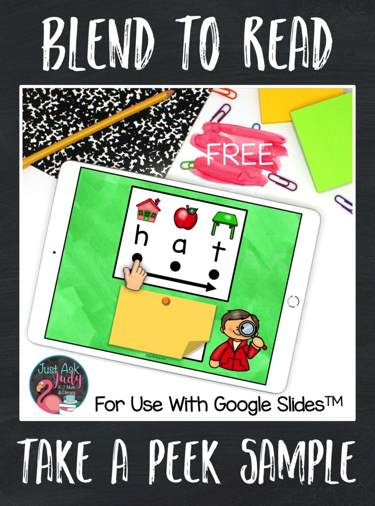 Try this free sample set of 10 short a CVC words for use with Google SlidesTM. They are designed to support beginning or struggling students as they learn to decode in kindergarten and first grade.