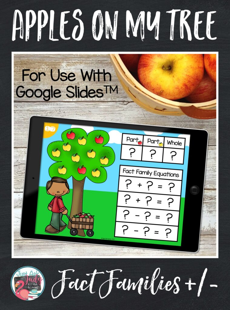 Learn more about this flexible apple tree themed resource, for use with Google SlidesTM. It is designed to help your first and second-grade math students develop or extend an understanding of addition and subtraction fact families.