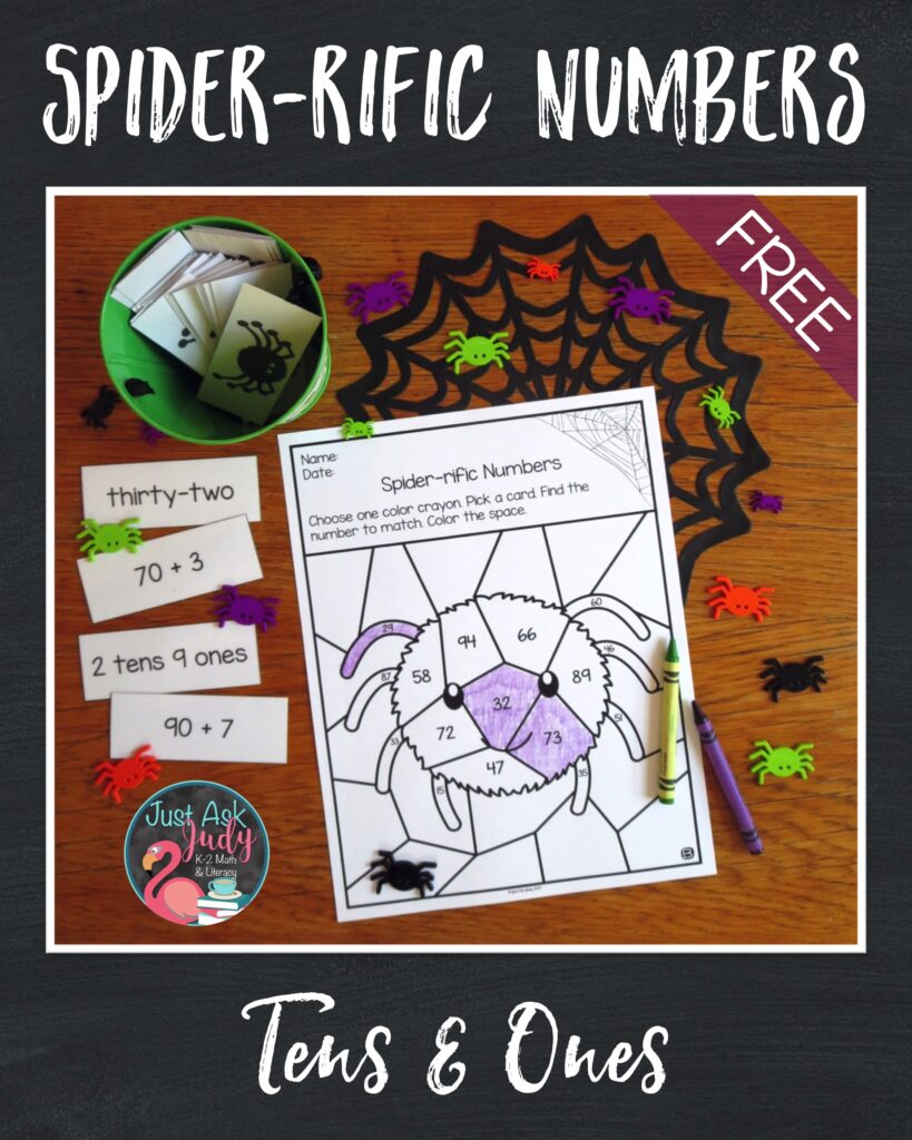 Try this free coloring activity. It's ideal for giving your first and second grade math students practice with the standard, word, expanded, and place value forms of two-digit numbers during October or any other month.