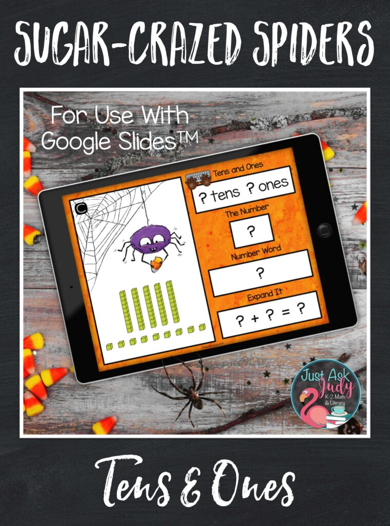 Learn more about this spider-themed place value resource, for use with Google SlidesTM. It is designed to give your first and second-grade math students practice with representing two-digit numbers in different forms; base ten, standard form, expanded form, and number word. It also provides practice with rounding to the nearest ten and ten less/ ten more than a number.