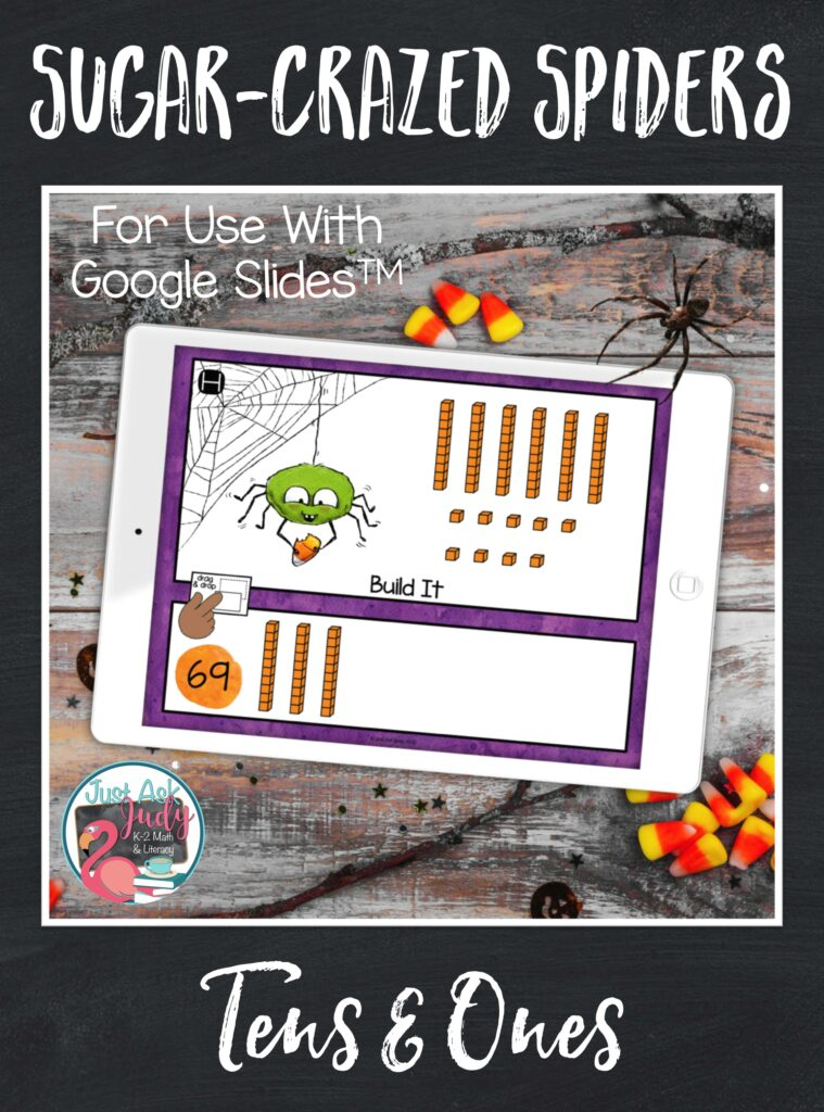 Check out this spider-themed place value resource, for use with Google SlidesTM. There's no need for your first and second graders to consume sugar while getting some math practice with representing two-digit numbers in different forms; base ten, standard form, expanded form, and number word.