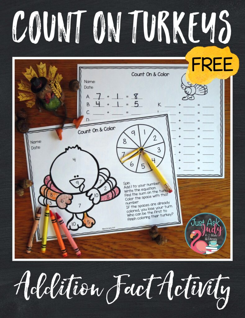 Download this free turkey-themed addition fact activity. Use it to provide math review or practice in kindergarten, first, and second grades.