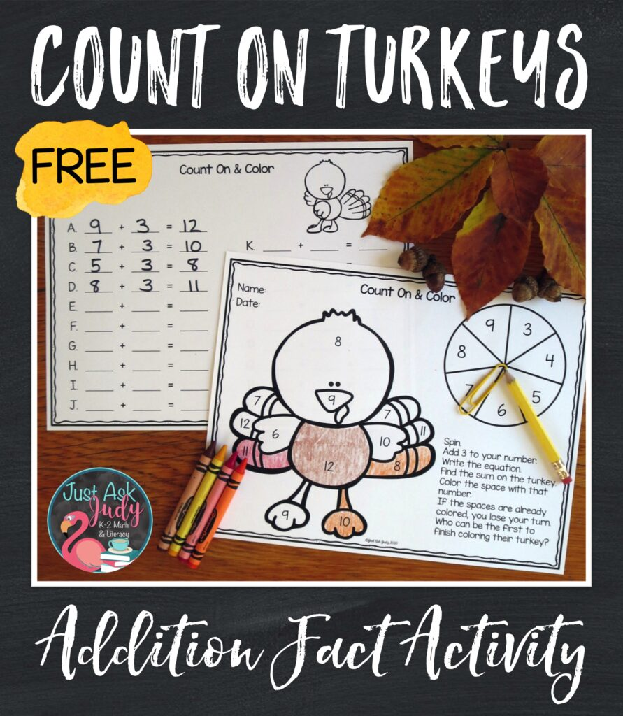 Check out this free turkey-themed activity! Give your kindergarteners, first, and second graders practice applying the count on addition fact strategy in a fun way.