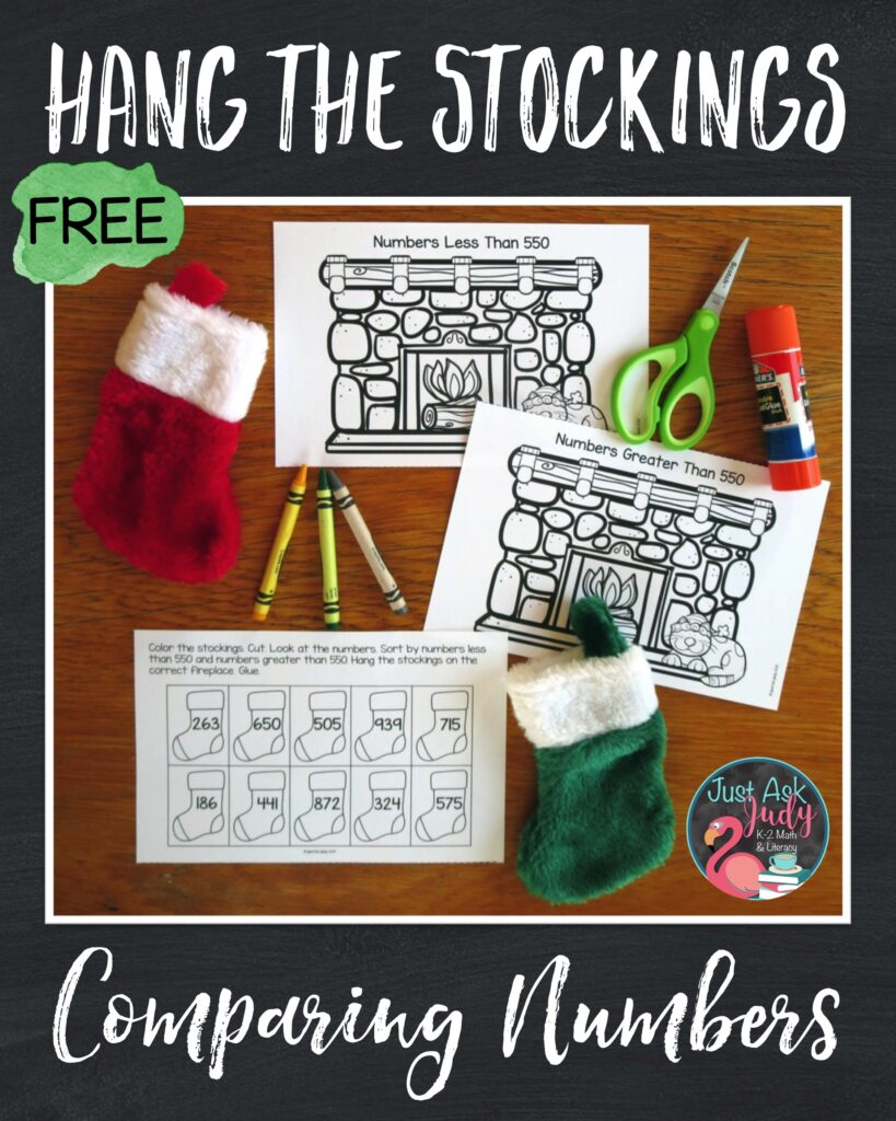 Try this free stocking themed Christmas math activity! This easy to prepare greater than and less than resource gives your first, second, and third grade students practice with comparing two or three-digit numbers against a benchmark number.