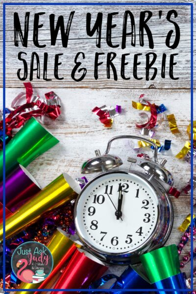 Click to find out about a hashtag sale on TpT and a free New Year's resource!
