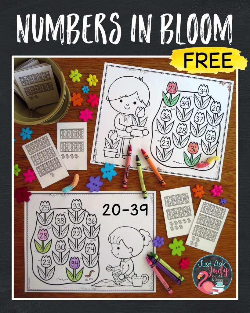 Check out this free spring-themed math activity. Give your kindergarteners and 1st graders practice with connecting the numerals we see with the number words we say.