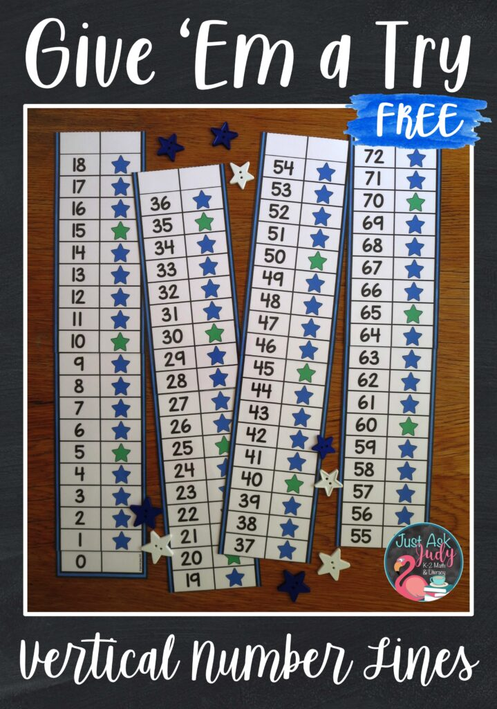 Click to learn about the benefits of using vertical number lines and get this free 0-100 vertical number line for your kindergarten, first, or second grade classroom.